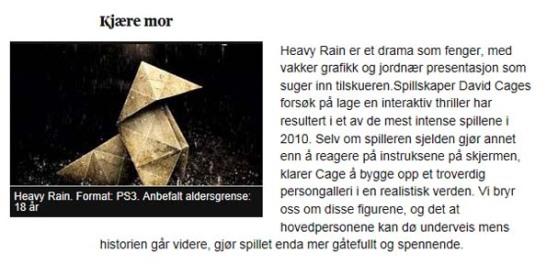 Heavy rain anbefales for mor, skjermbilde av Aftenposten.no